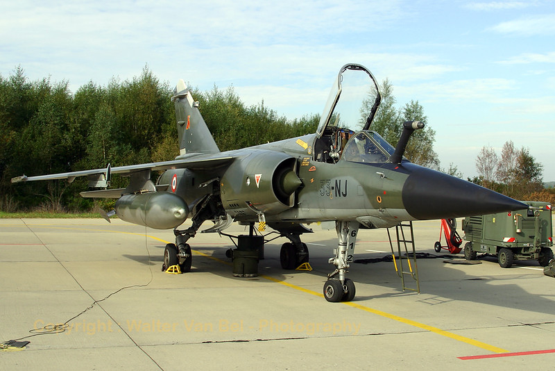 French Air Force Mirage F1CR (612 / 33-NJ), on the ramp of Florennes AFB, prior to the final mission of this TLP2006-5 session. This aircraft must have been flying very low, look at the dent in the fuel tank ;-)