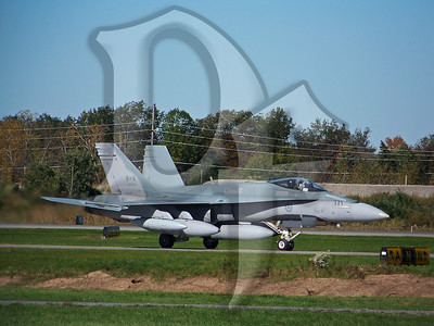 CF-18 (188771) taxiing at Greater Rochester International Airport (ROC) in October 2010. This Hornet is assigned to the Canadian Air Force's 425th Fighter Squadron, Alouetté. http://www.rcaf.com/Squadrons/squadronDetail.php?No.-425-Squadron-84