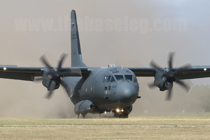 A dust cloud is kicked up behind as Royal Australian Air Force Leonardo C-27J Spartan battlefield airlifter A34-005 makes a rough field landing, RAAF Base Richmond, 18 April 2018