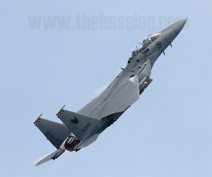 A study of Republic of Singapore Air Force Boeing F-15SG 8320/05-0016 as it climbs in afterburner