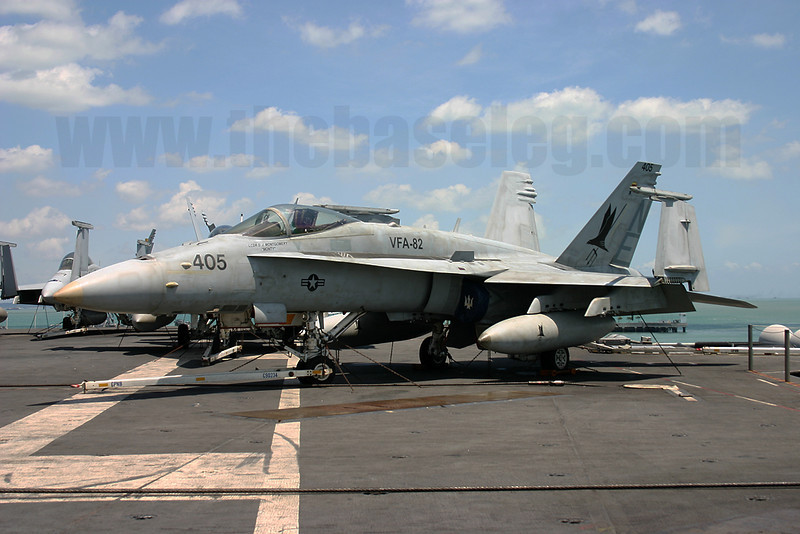 F/A-18C Hornet 165205/NE-405 of VFA-82 Marauders on board the USS Abraham Lincoln, Changi Naval Base, Singapore in 2005. Normally assigned to the Atlantic Fleet, the Marauders were assigned to the Pacific for one cruise before disestablishing later that year.