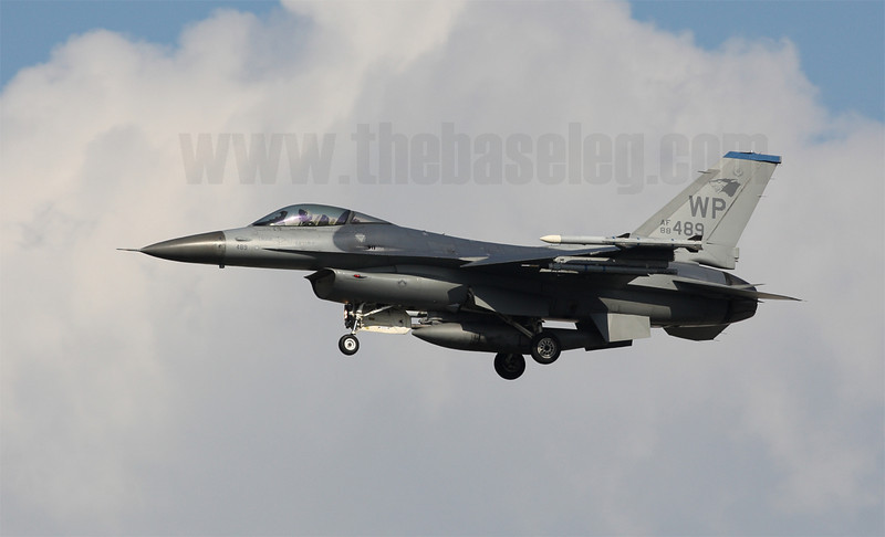 USAF F-16CM Fighting Falcon belonging to the Pantons of the 35th Fighter Squadron, 8th Fighter Wing (Wolfpack) lands at Singapore's Paya Lebar Airbase after an afternoon Commando Sling sortie. The unit is normally based at Kunsan, Republic of Korea.