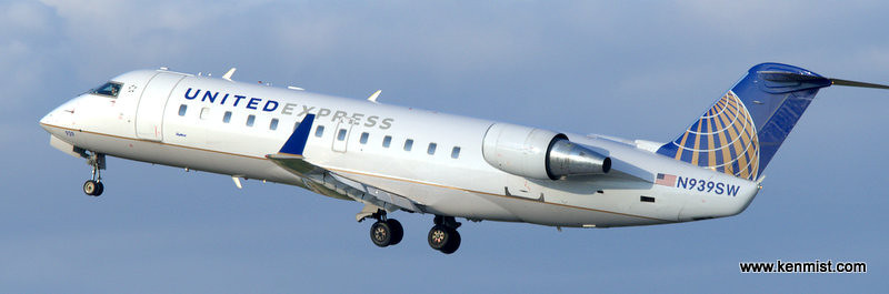United Express CRJ lifting off from London International Airport