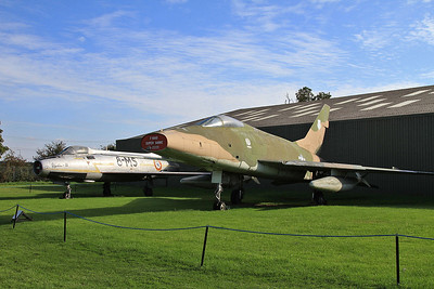 North American F-100D Super Sabre, 54-2223, & Dassault Mystere IVa, No.83 / 8-MS, on display outside at Newark Air Museum - 11/10/15.