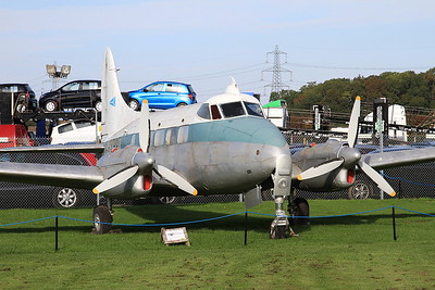 De Havilland DH.104 Dove Series 1, G-AHRI, on display outside at Newark Air Museum - 11/10/15.