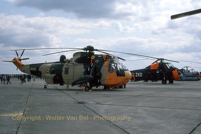 The Belgian Air Force Sea King Mk48 (RS05; cnWA835), together with its older sister - the Sikorsky S58A (reg:B4/callsign OT-ZKD) - in the static display area during IAT at RAF Greenham Common. [Scan from old slide].