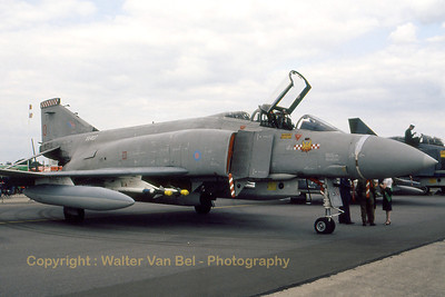 RAF Phantom FGR2 (XV407 / O , cn2937/0039) from 56Sqn in static display at RAF Greenham Common (IAT). Scan from old slide.