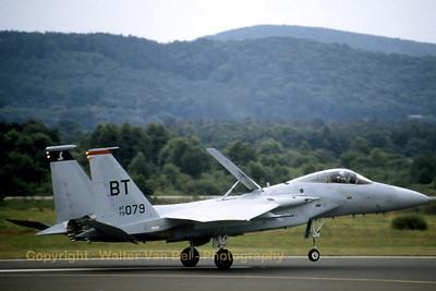 USAF F-15C (79-0079; BT; cn0629-C148) landing at Ramstein (ETAR) [August-1981].