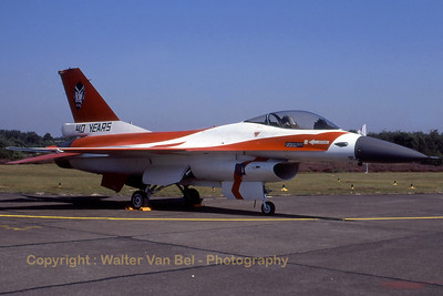 """Special markings on this Belgian F-16A (FA-91, cn 6H-91) (40 years 23squadron - """"Devils"""")."""