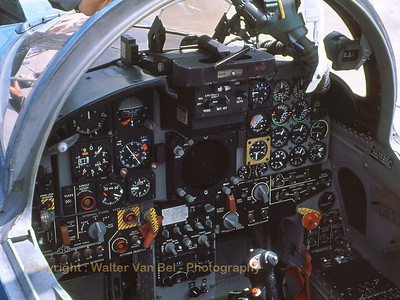 View into the cockpit of a F-5E Tiger II (74-1534 / 34 ; cn R1192) from the 527th Agressor Squadron at Alconburry (EGWZ), during an Open Door at Bitburg AFB. The aircraft was w/o on 19-10-1987. Scan from slide.