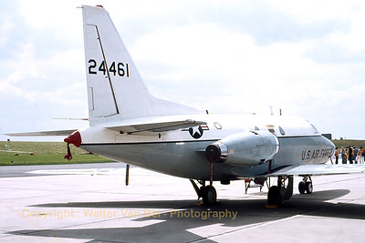 A T-39A Sabreliner (62-4461; cn276-14), on the ramp at Bitburg AFB, during an Open Door (late seventies). [Scan from old slide].