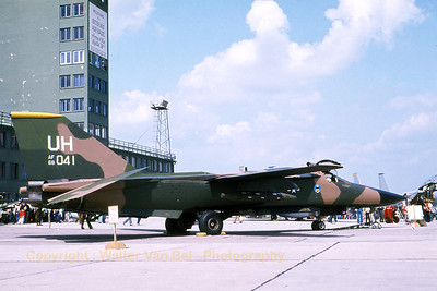 This Upper Heyford based F-111E (68-0041; UH; cnA1-210) from the US Air Force was parked in the static during an Open Door at Bitburg AFB. [Scan from old slide].