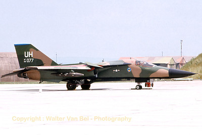 This F-111E (68-0077; UH; cnA1-246) from Upper Heyford was photographed during an Open Door at Bitburg AFB. [Scan from old slide].