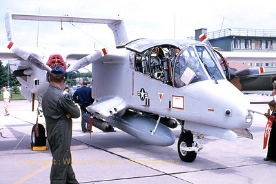 An OV-10A Bronco (67-14687; cn305A-95)  in the static at Bitburg AFB during an Open Door in the late seventies. [Scan from slide].