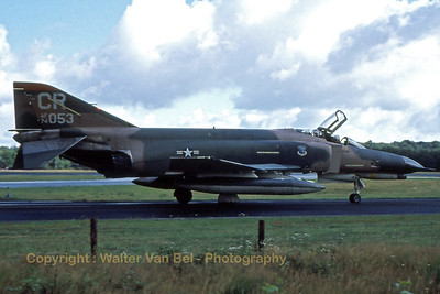 A USAFE F-4E Phantom II (74-1053; CR; cn4838) in Vietnam-type c/s at Soesterberg during the late seventies.