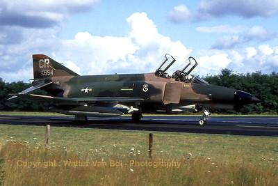 A Phantom II  (74-0654 / CR ,cn 4805) in Vietnam-type c/s at Soesterberg during the late seventies.