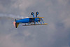 Photo taken July 28, 2007.  A Stearman flown by John Mohr makes a low, inverted pass during EAA Airventure 2007.