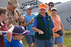 "Photo taken July 28, 2007.  Brig. Gen Chuck Yeager describes flying to a group of ""Make-A-Wish"" Foundation kids just after completing a flight on the EAA Ford Tri-Motor."