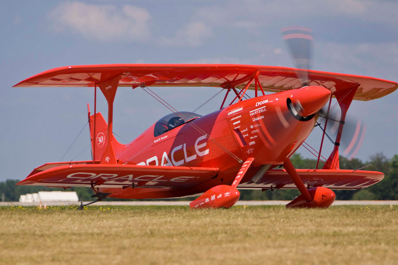 Photo taken July 28, 2007.  Sean D. Tucker waits to takeoff at EAA Airventure 2007.