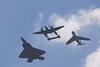 "Photo taken July 28, 2007.  The F-22 Raptor, P-38 Lightning ""Glacier Girl"" and an F-86 Sabre perform a ""Heritage Pass"" during EAA Airventure 2007."
