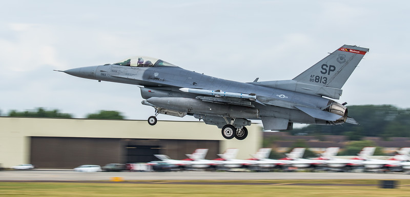 F16 Falcon - USAF - 52FW - 480FS - SP AF 90-0813 - RIAT Arrivals - RAF Fairford (July 2017)