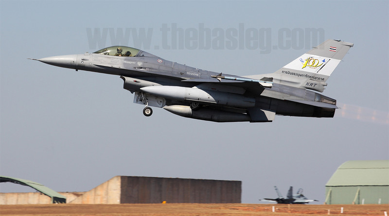 The Royal Thai Air Force are regulars at Pitch Black, and they're always good for bringing a special scheme aircraft or two. 2012 was no exception; this is F-16ADF 10209 carrying markings commemorating 100 years of aviation in Thailand