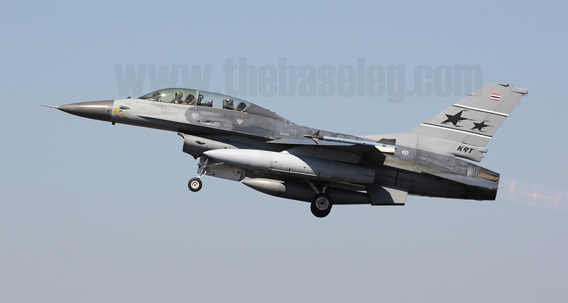 Thailand is one of only three countries outside of the United States to operate the Air Defence Fighter version of the F-16. This is the sole F-16B-ADF in the RTAF's inventory, serialed 10201 and serving with Korat-based 102 Sqn.