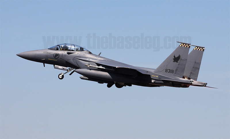 """Another notable debutant at Pitch Black 2012 were the Boeing F-15SG Eagles of the Republic of Singapore Air Force's 149 """"Shikra"""" Sqn. Here 8318/05-0014 retracts its undercarriage soon after takeoff."""