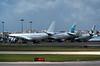Hi Fly Airbus A330-300 CS-TRI, EuroAtlantic Airways Boeing 777-200 CS-TFM & Azores Airlines Airbus A330-200 CS-TRY, Lisbon Humberto Delgado airport, Wed 25 May 2016 - 1155.