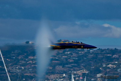 SAN FRANCISCO, CA - OCTOBER 5: US NAVY Demonstration Squadron Blue Angels, flying on Boeing F/A-18 Hornet showing precision of flying and the highest level of pilot skills during Fleet Week on October 5, 2012 in San Francisco, CA.