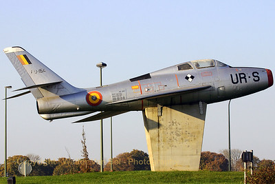 Belgian Air Force (ex-USAF) F-84F preserved at a roundabout, in the small village of Vodecée, where the roads N98 & N97 meet. The aircraft points into the direction of the gate of its former airbase: Florennes AFB.