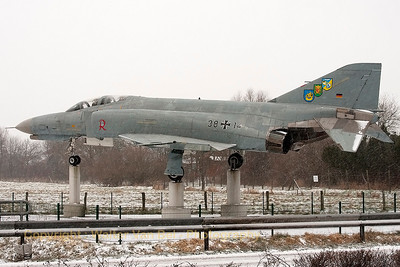 """""""Cold as ice"""" and with a little bit of snow on its canopy and horizontal stabilizers. Unfortunately, this was the only German Air Force F-4F Phantom II (38+14, cn4646) that I saw during this winterday at Wittmund."""