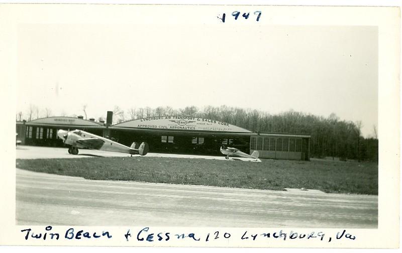 Preston Glenn Airport with a Twin Beech & Cessna 120 (06324)