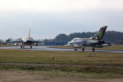RAF Panavia Tornado GR.4s, ZG752/129 & ZG775/AF, taxi for take off - 23/01/19