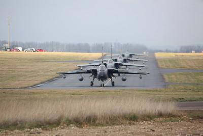 RAF Panavia Tornado GR.4s, ZG752/129, ZG775/AF, ZD716/084/DH & ZA449/020, taxi for take off - 23/01/19