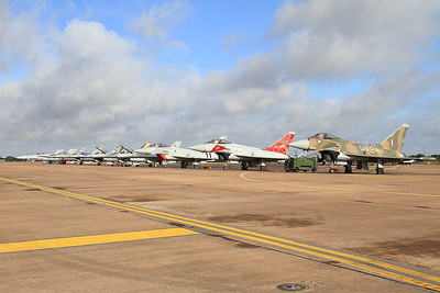 RAF Eurofighter EF-2000 Typhoon FGR4 ZK349/BZ heads a line-up of fast jets on the flight line - 19/07/15.