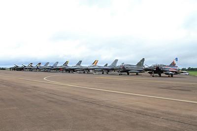 Flight line with French AF (Ramex Delta Display Team) Dassault Mirage 2000N's, 353/125-AM & 375/125-CL, nearest the camera - 10/07/16.