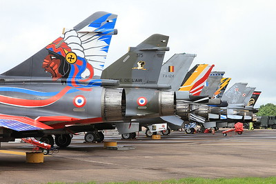 Flight line with French AF (Ramex Delta Display Team) Dassault Mirage 2000N's, 353/125-AM & 375/125-CL nearest the camera - 10/07/16.