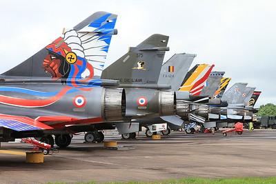 Flight line with French AF (Ramex Delta Display Team) Dassault Mirage 2000N's, 353/125-AM & 375/125-CL nearest the camera - 10/07/16.