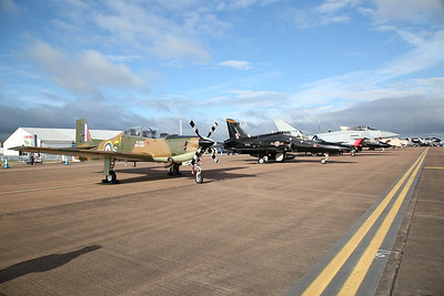 RAF Trainers Short S-312 Tucano T.1, ZF378 / RN-S and BAe Hawk T.1A, XX191 / CC, on static display - 16/07/17