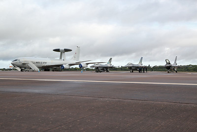NATO Boeing E-3A Sentry AWACS, LX-N90451, to take part in NATO flypast but sadly unserviceable ...  sits on the flight line alongside 3 Belgian AF F16s - 20/07/19