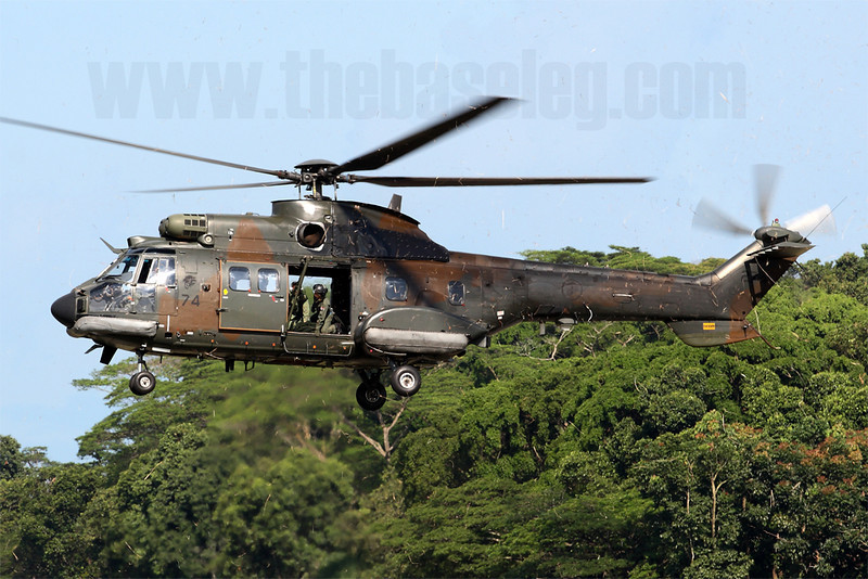 The survivors of Singapore's 34-strong fleet of AS332M/M-1 Super Pumas/Cougars are currently undergoing a progressive upgrade which includes the addition of threat warning receivers and decoy launchers.