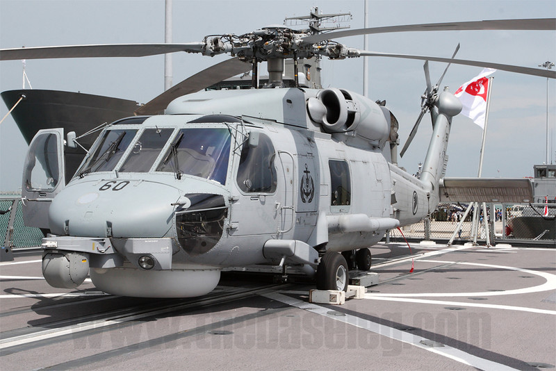 Singapore's S-70B Seahawk made its static display debut at the Open House. However one appeared on the deck of Republic of Singapore Navy frigate RSS Stalwart during IMDEX, a Maritime and Defence trade exhibition at Changi Naval Base the week before.