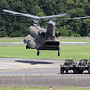 Landing to disgorge the LSV crew. Singapore's Chinooks serve with 127 Sqn, based at Sembawang.