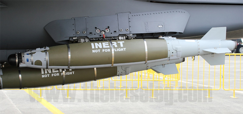 GBU-54/B Laser JDAM on an F-15SG. Singapore has also ordered the AGM-154 Joint Stand Off Weapon (JSOW) for its F-15SGs.