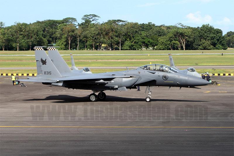Taxiing out for departure. Singapore's F-15SGs are split between 149 Sqn and the USAF's 428th Fighter Squadron of the 366th Fighter Wing, a mixed RSAF/USAF F-15SG training squadron at Mountain Home AFB, Idaho.