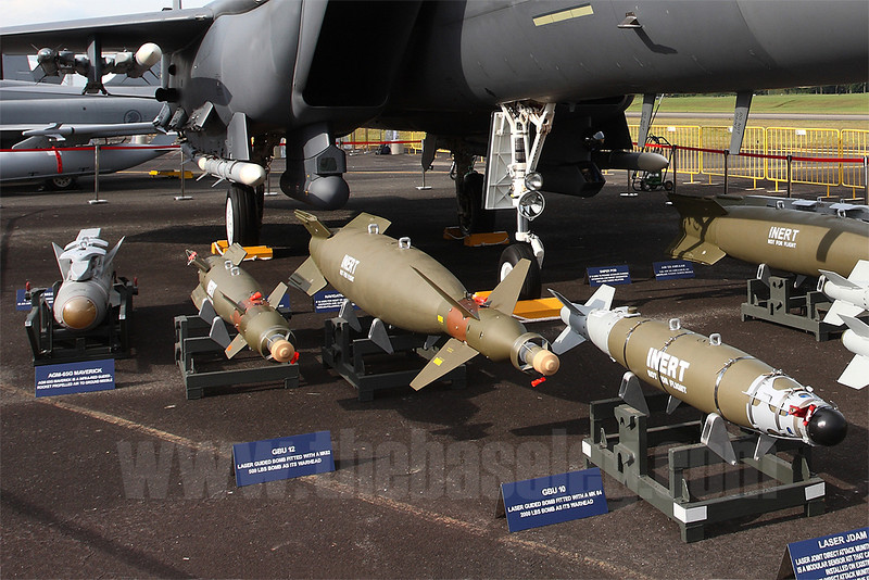 A display of F-15SG stores. In this view are the AIM-9X Sidewinder, AIM-120C AMRAAM, AGM-65G Maverick, GBU-10 and -12 laser guided bombs and the GBU-54/B Laser JDAM.