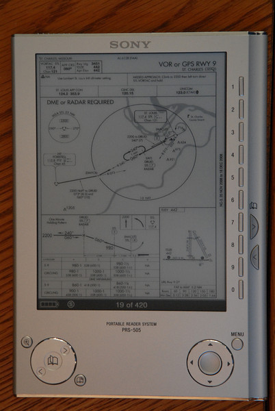 Approach plate in full-screen mode. This is too small to use for flying an approach but the highlight, the radio frequencies, altitudes, etc., are surprisingly readable.