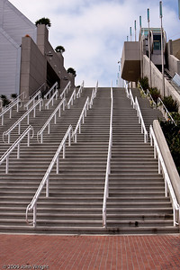The horrible stairs at the San Diego Convention Center that allow access from to the park Harbor Drive...