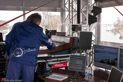 The second floor of the Red bull Air Races control tower houses audio-visual equipment for the spectator experience.